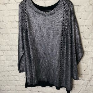 Edit by Jeanne Becker metallic cable knit sweater